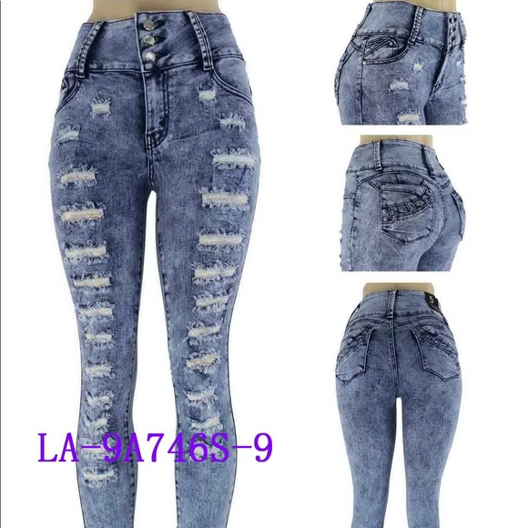 good texture factory price 100% quality LA BONITA JEANS Women's High Waist Ripped Skinny Boutique